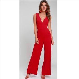 LULUS Women's Red Jumpsuit